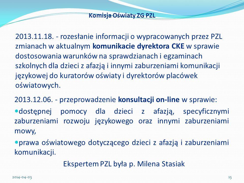 2013.12.06. - przeprowadzenie konsultacji on-line w sprawie: