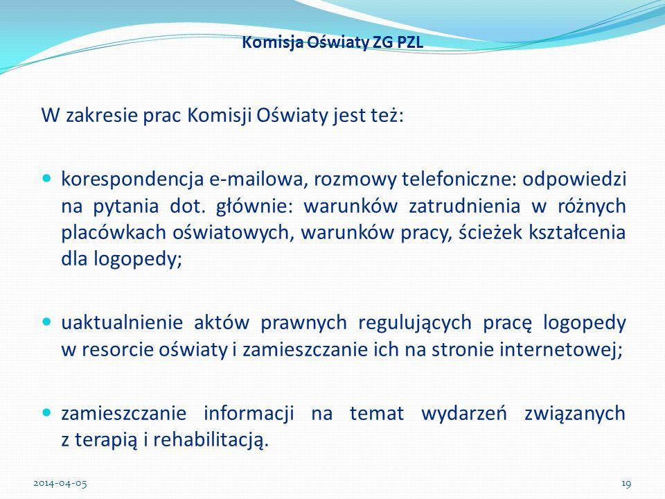 W zakresie prac Komisji Oświaty jest też: