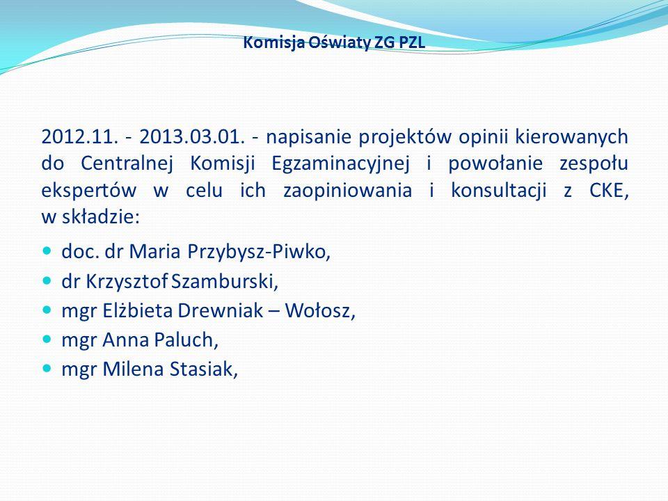doc. dr Maria Przybysz-Piwko, dr Krzysztof Szamburski,
