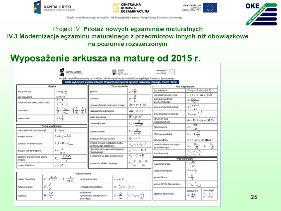 Wyposażenie arkusza na maturę od 2015 r.