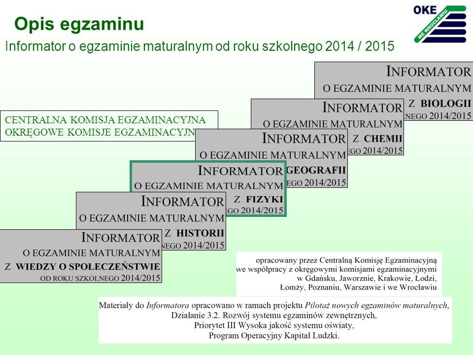 Opis egzaminu Informator o egzaminie maturalnym od roku szkolnego 2014 / 2015. CENTRALNA KOMISJA EGZAMINACYJNA.