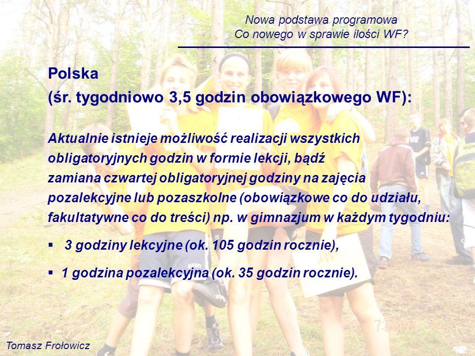 Polska (śr. tygodniowo 3,5 godzin obowiązkowego WF):