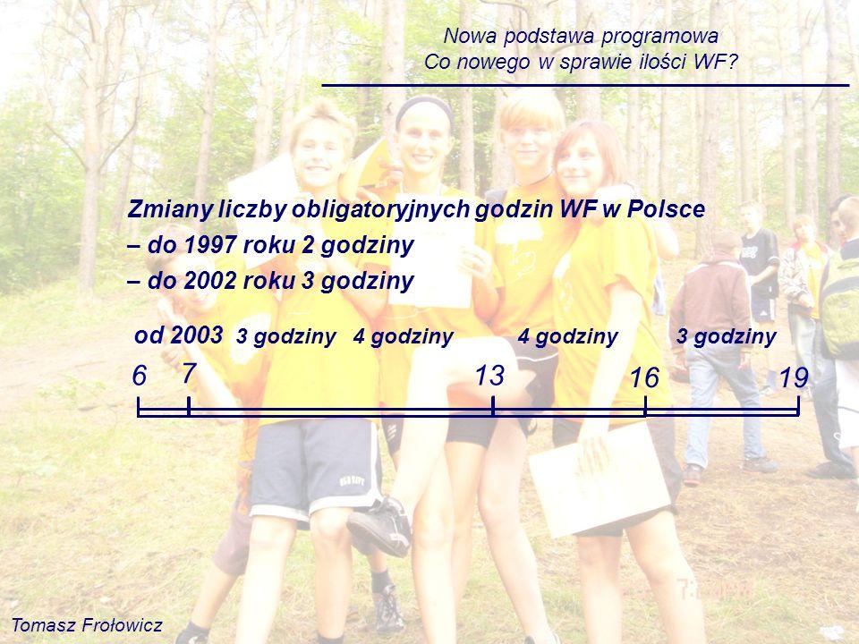 6 7 13 16 19 Zmiany liczby obligatoryjnych godzin WF w Polsce