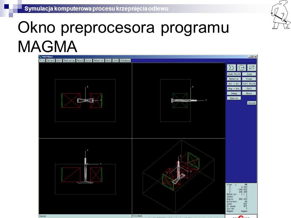 Okno preprocesora programu MAGMA