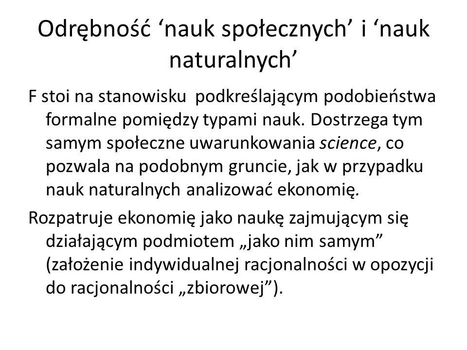 Odrębność 'nauk społecznych' i 'nauk naturalnych'