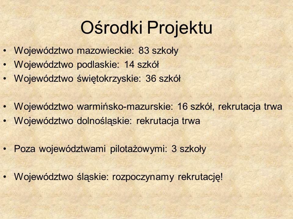 Ośrodki Projektu Województwo mazowieckie: 83 szkoły