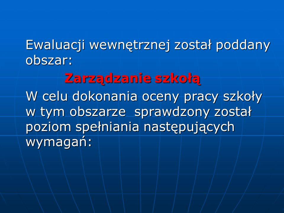 Ewaluacji wewnętrznej został poddany obszar: