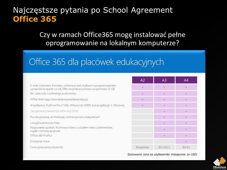 Najczęstsze pytania po School Agreement Office 365