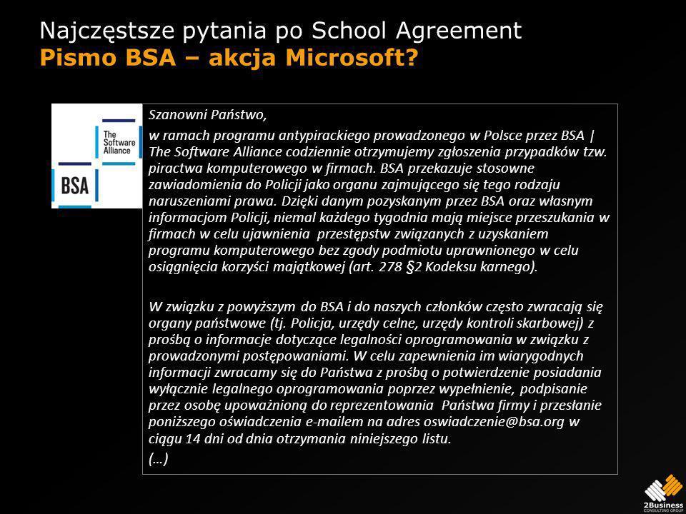 Najczęstsze pytania po School Agreement Pismo BSA – akcja Microsoft