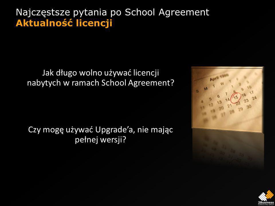 Najczęstsze pytania po School Agreement Aktualność licencji