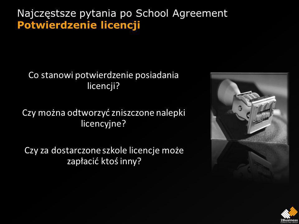 Najczęstsze pytania po School Agreement Potwierdzenie licencji