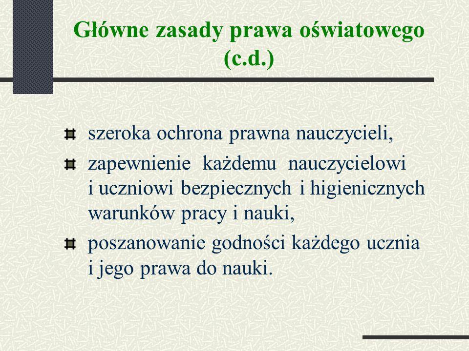 Główne zasady prawa oświatowego (c.d.)