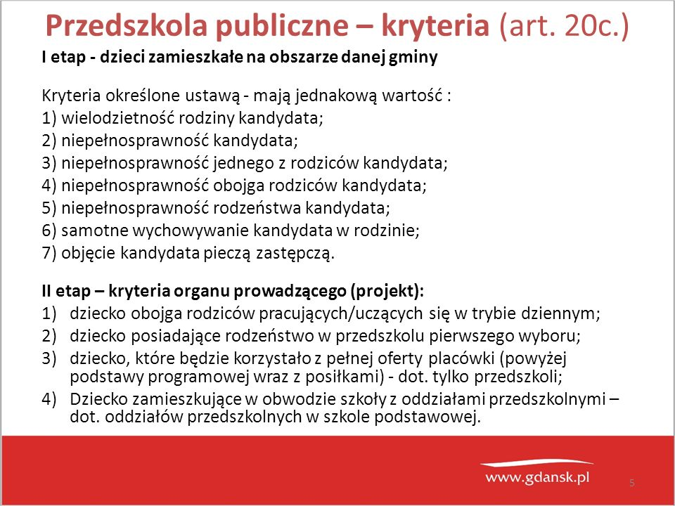 Przedszkola publiczne – kryteria (art. 20c.)