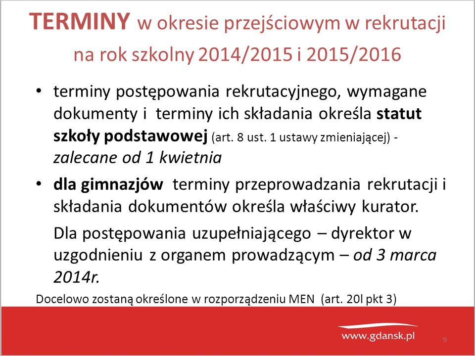 TERMINY w okresie przejściowym w rekrutacji na rok szkolny 2014/2015 i 2015/2016