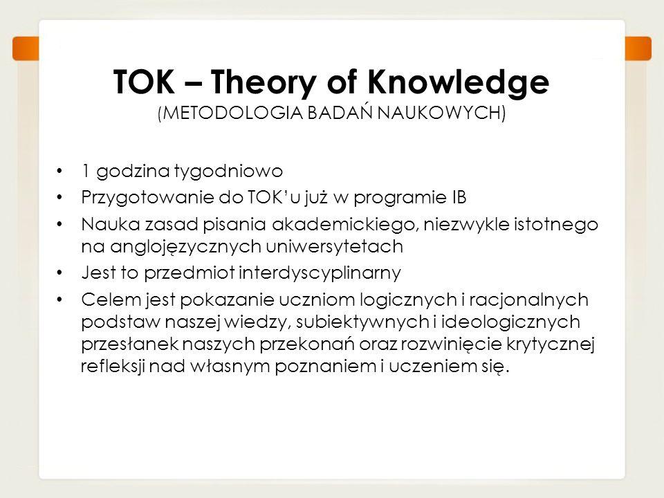 TOK – Theory of Knowledge (METODOLOGIA BADAŃ NAUKOWYCH)