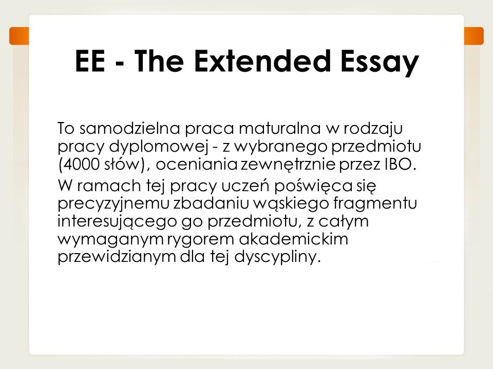 EE - The Extended Essay