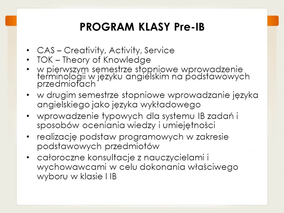 PROGRAM KLASY Pre-IB CAS – Creativity, Activity, Service