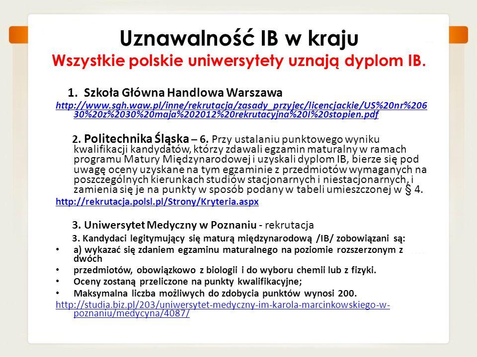 Uznawalność IB w kraju Wszystkie polskie uniwersytety uznają dyplom IB.