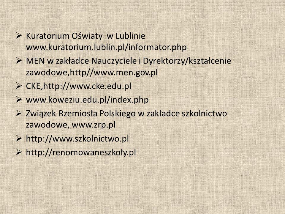 Kuratorium Oświaty w Lublinie www.kuratorium.lublin.pl/informator.php