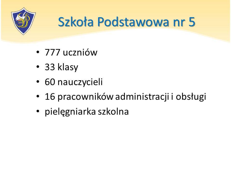 Szkoła Podstawowa nr 5 777 uczniów 33 klasy 60 nauczycieli