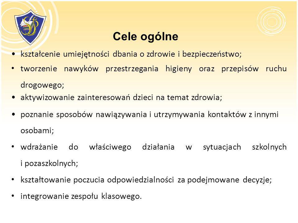 Cele ogólne kształcenie umiejętności dbania o zdrowie i bezpieczeństwo; tworzenie nawyków przestrzegania higieny oraz przepisów ruchu drogowego;