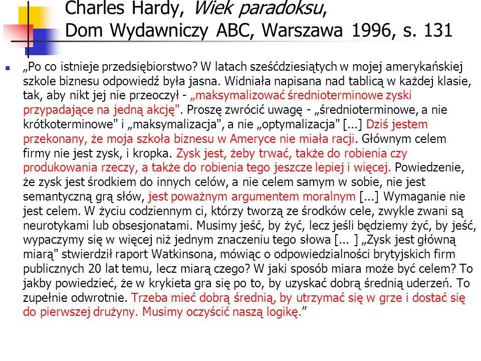 Charles Hardy, Wiek paradoksu, Dom Wydawniczy ABC, Warszawa 1996, s