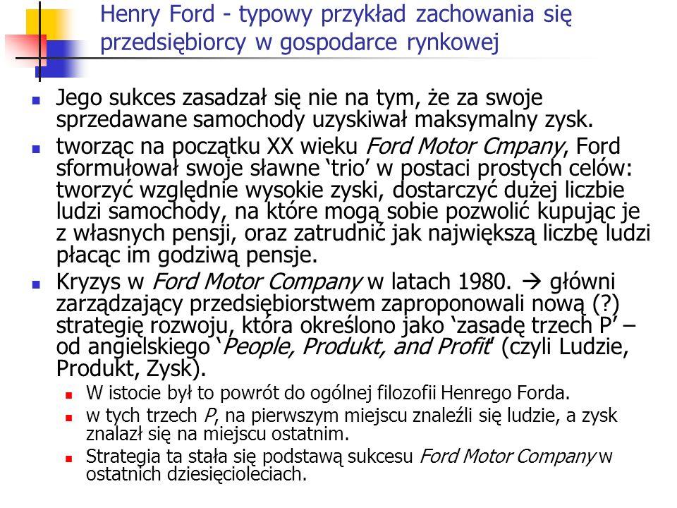 Henry Ford - typowy przykład zachowania się przedsiębiorcy w gospodarce rynkowej