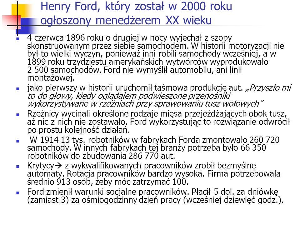 Henry Ford, który został w 2000 roku ogłoszony menedżerem XX wieku