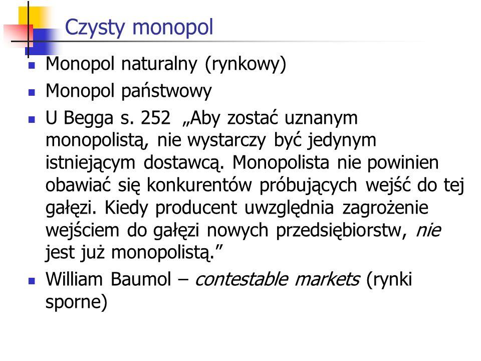 Czysty monopol Monopol naturalny (rynkowy) Monopol państwowy