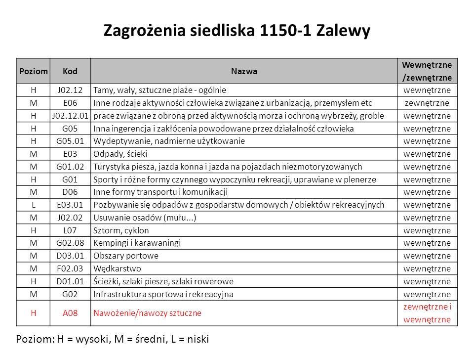 Zagrożenia siedliska 1150-1 Zalewy