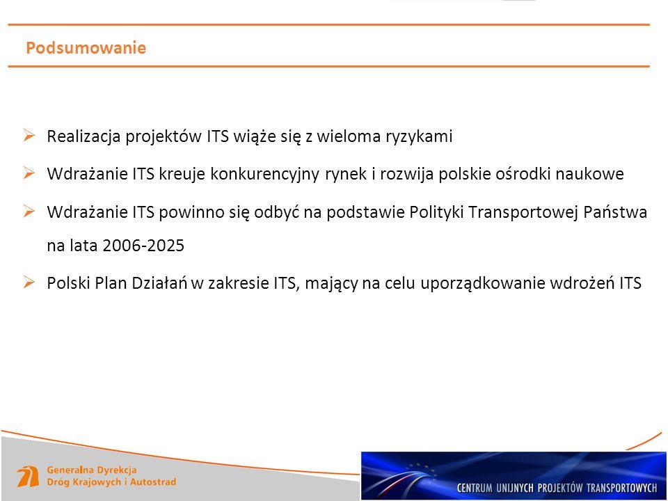 Podsumowanie Realizacja projektów ITS wiąże się z wieloma ryzykami. Wdrażanie ITS kreuje konkurencyjny rynek i rozwija polskie ośrodki naukowe.
