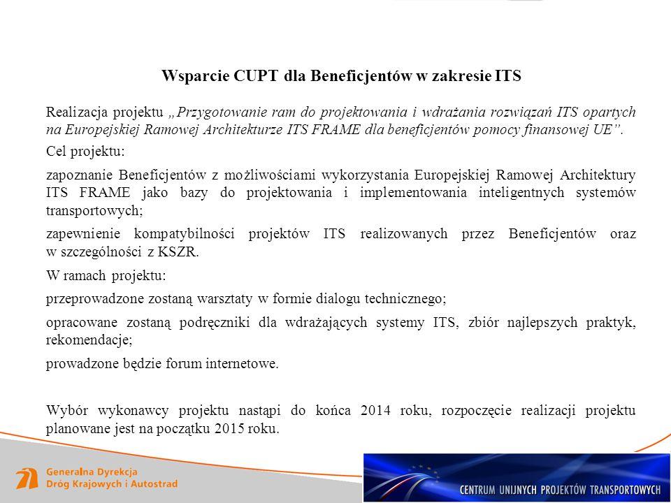 Wsparcie CUPT dla Beneficjentów w zakresie ITS
