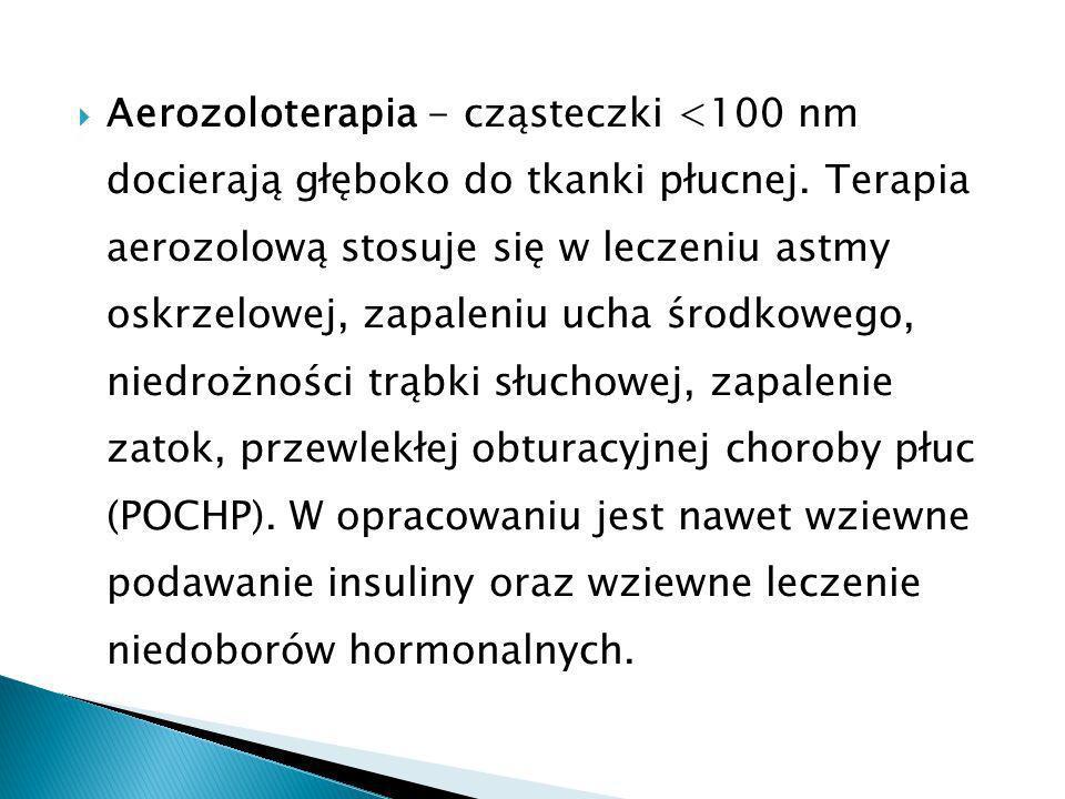 Aerozoloterapia - cząsteczki <100 nm docierają głęboko do tkanki płucnej.