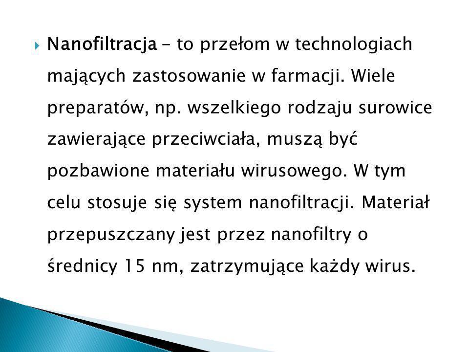 Nanofiltracja - to przełom w technologiach mających zastosowanie w farmacji.