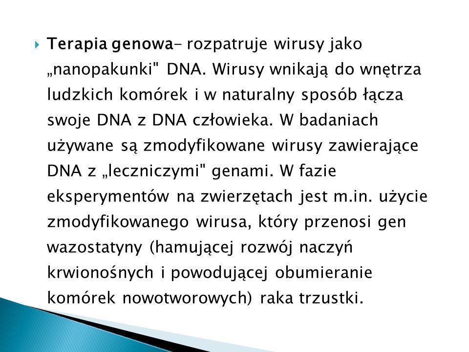 """Terapia genowa- rozpatruje wirusy jako """"nanopakunki DNA"""