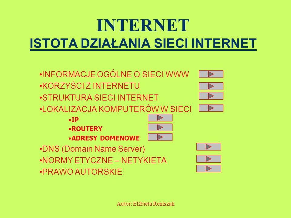 INTERNET ISTOTA DZIAŁANIA SIECI INTERNET