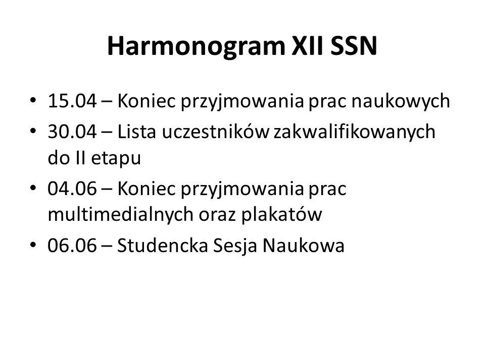 Harmonogram XII SSN 15.04 – Koniec przyjmowania prac naukowych