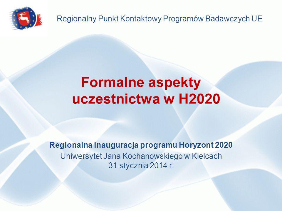 Formalne aspekty uczestnictwa w H2020