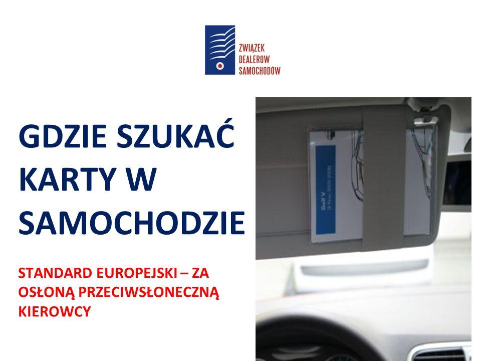 GDZIE SZUKAĆ KARTY W SAMOCHODZIE STANDARD EUROPEJSKI – ZA OSŁONĄ PRZECIWSŁONECZNĄ KIEROWCY