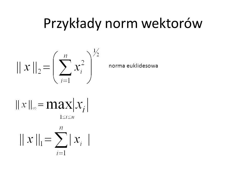 Przykłady norm wektorów