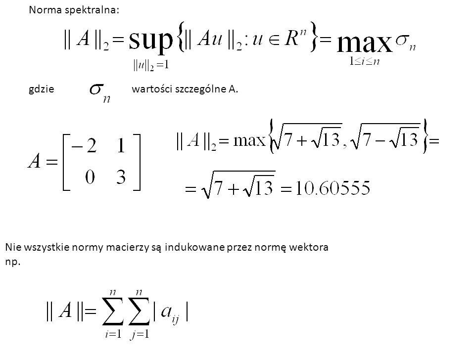 Norma spektralna: gdzie. wartości szczególne A. Nie wszystkie normy macierzy są indukowane przez normę wektora.
