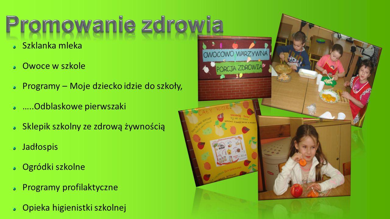 Promowanie zdrowia Szklanka mleka Owoce w szkole