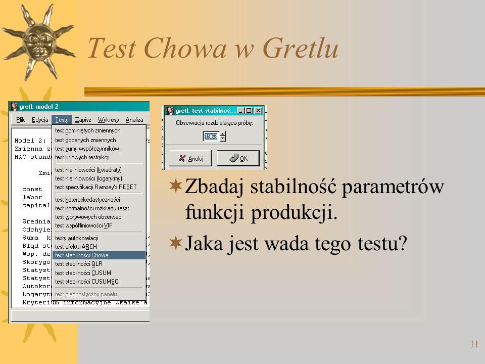 Test Chowa w Gretlu Zbadaj stabilność parametrów funkcji produkcji.