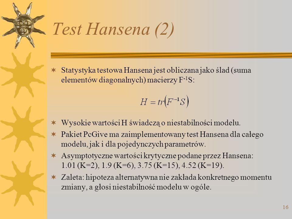 Test Hansena (2) Statystyka testowa Hansena jest obliczana jako ślad (suma elementów diagonalnych) macierzy F-1S: