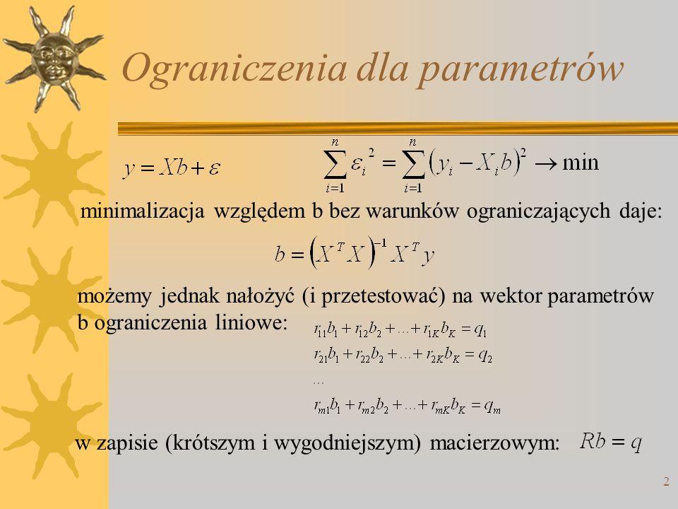 Ograniczenia dla parametrów
