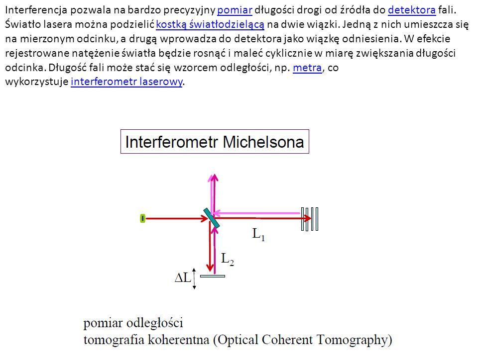 Interferencja pozwala na bardzo precyzyjny pomiar długości drogi od źródła do detektora fali.