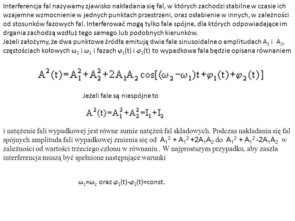 Interferencja fal nazywamy zjawisko nakładania się fal, w których zachodzi stabilne w czasie ich wzajemne wzmocnienie w jednych punktach przestrzeni, oraz osłabienie w innych, w zależności od stosunków fazowych fal. Interferować mogą tylko fale spójne, dla których odpowiadające im drgania zachodzą wzdłuż tego samego lub podobnych kierunków. Jeżeli założymy, że dwa punktowe źródła emitują dwie fale sinusoidalne o amplitudach A1 i A2, częstościach kołowych w1 i w2 i fazach j1(t) i j2(t) to wypadkowa fala będzie opisana równaniem