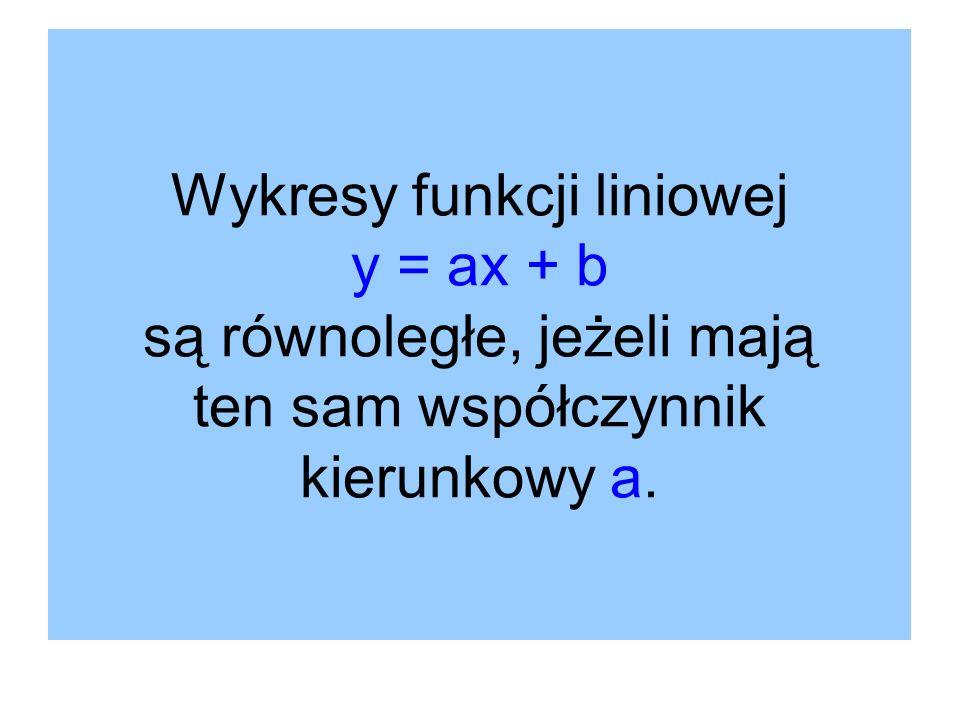 Wykresy funkcji liniowej y = ax + b są równoległe, jeżeli mają ten sam współczynnik kierunkowy a.