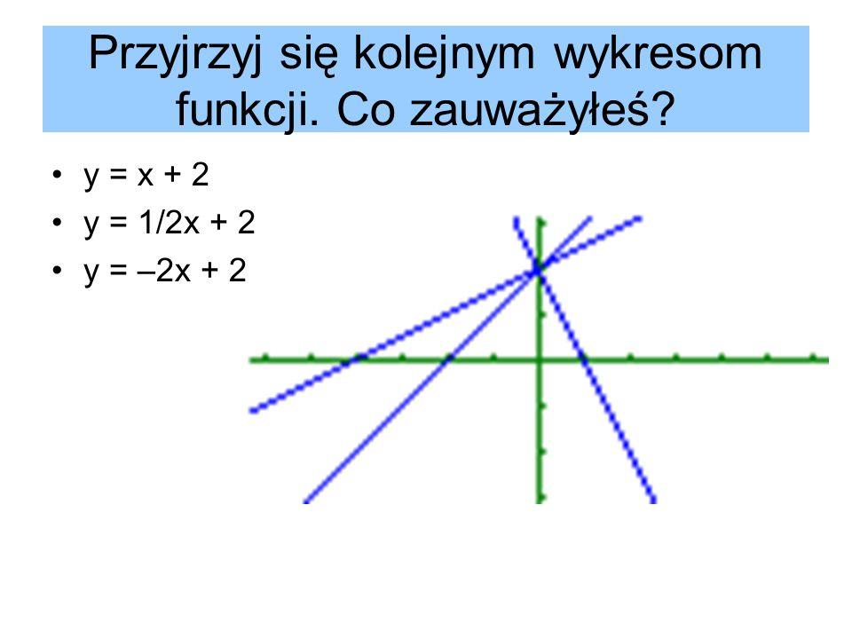 Przyjrzyj się kolejnym wykresom funkcji. Co zauważyłeś
