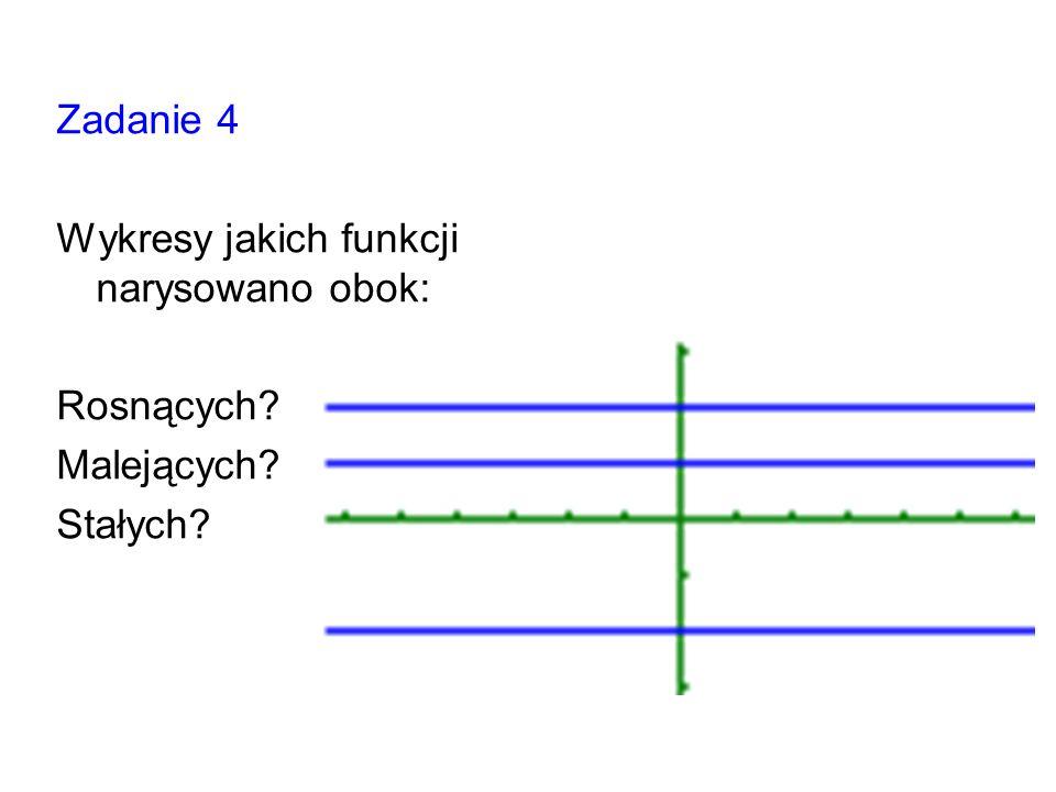 Zadanie 4 Wykresy jakich funkcji narysowano obok: Rosnących Malejących Stałych